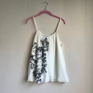 FOREVER 21 / Black & White Floral Tank Top